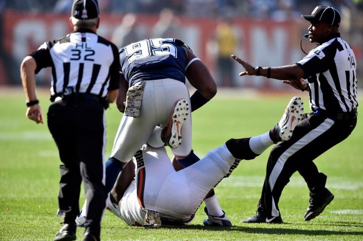 Cowboys vs. Browns:  35-10, Cowboys  -  November 6, 2016  -   Dallas Cowboys defensive tackle David Irving (95) and Cleveland Browns center Cameron Erving, bottom, fight in the first half of an NFL football  game, Sunday, Nov. 6, 2016, in Cleveland. (Credit: AP / David Richard)