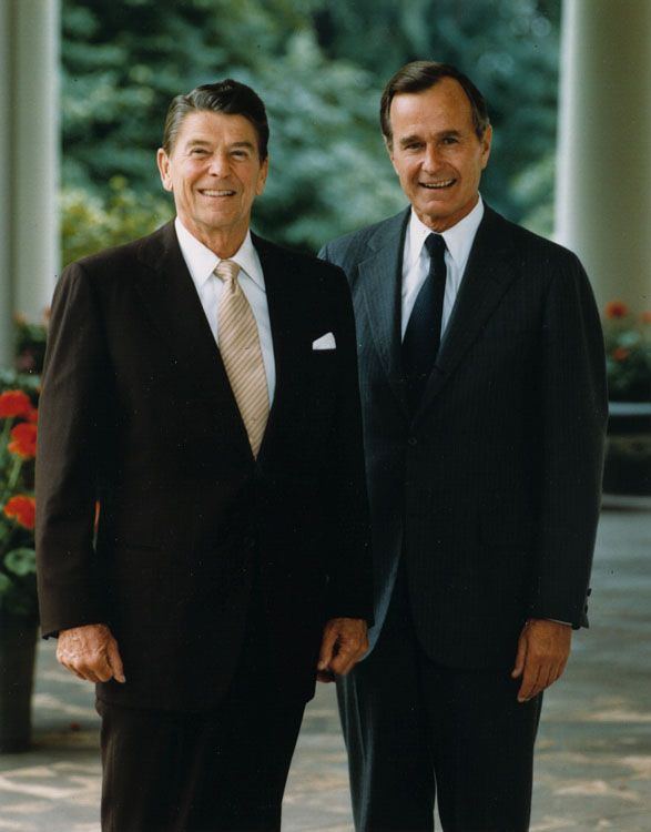 President Ronald Reagan, 40th President of the United States, with Vice President George H W Bush, soon to be 41st President.
