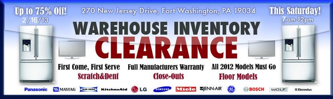 President's Day Weekend Warehouse Blowout sale THIS SATURDAY! Great deals on all models and Brands.Come find deep discounts on all appliances such as front-load washers,dryers, refrigerators, ranges, BBQ Grills, Microwaves, wine coolers, TVs galore, sound systems, and MUCH MORE! All major brands including Kitchenaid, Wolf, Sub-Zero, Viking, Electrolux, Bosch,Thermador. We offer delivery or you can take-with.  THIS Saturday!  http://www.gerhardsappliance.com/warehouse-sale/