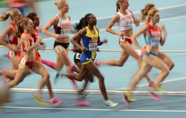Sweden's Abeba Aregawi (C) competes in the women's 1500 m semi-final. IAAF Champtionships in Moscow