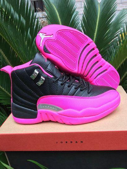 pretty nice cbb56 448ce Jordan 12 XII GS Vivid Pink Black Fireberry Size 7.5