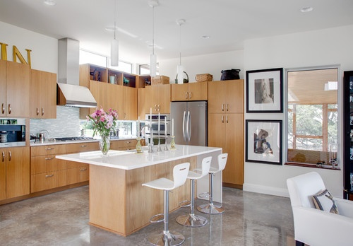 concrete floor   (Houzz, Kailey J. Flynn Photography): Kitchens Interiors, Contemporary Kitchens, Design Ideas, Kitchens Ideas, Floors Design, House, Concrete Floors, Modern Kitchens, Kitchens Photos
