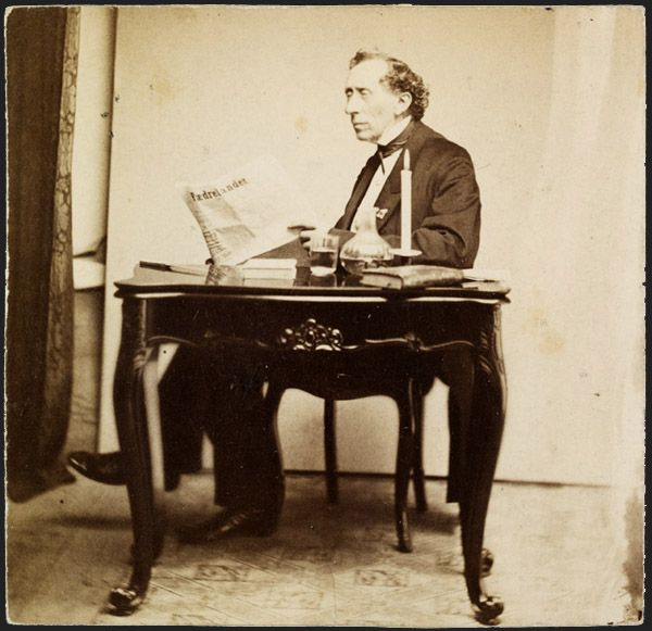 H. C. Andersen at his writing desk. Old photo.