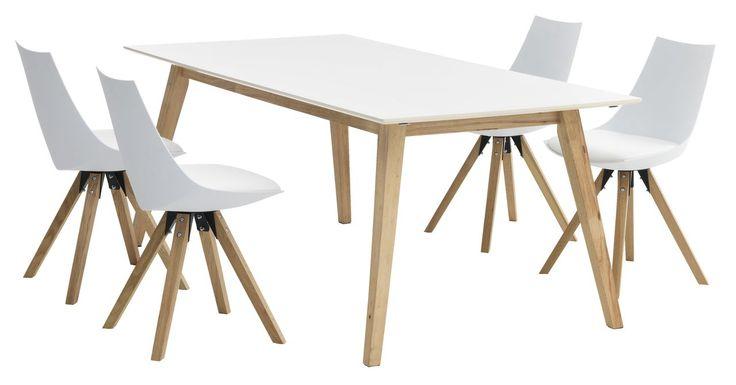 Tafel TARUP + 4 stoelen wit ORE   JYSK