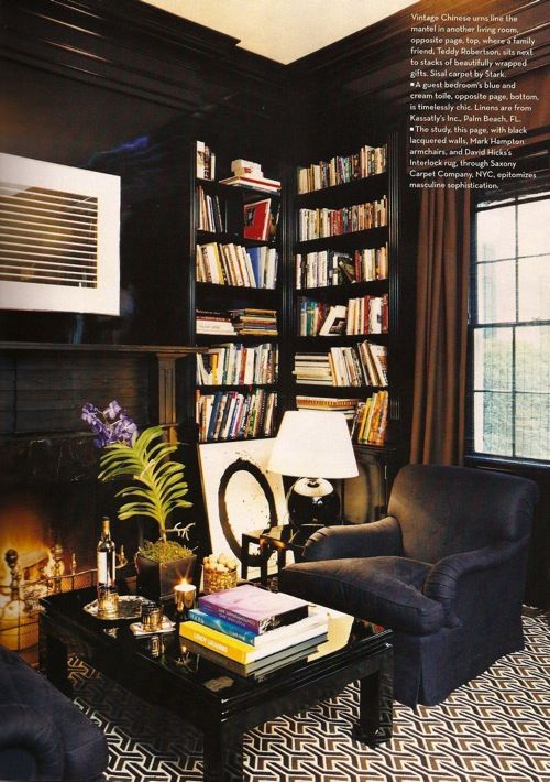 Fab book shelves, love black walls and patterned carpet.... Pretty much like everything in this room.