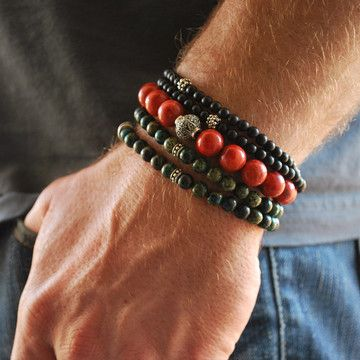 Coral, turquoise and onyx bracelets.