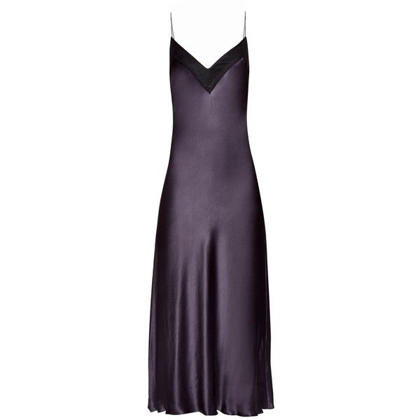 Ellery Bustier silk-satin cami dress found on Polyvore featuring dresses, vestidos, dark grey, plunge neck dress, dark grey dress, cocktail dresses, dark grey cocktail dress and camisole slip dress