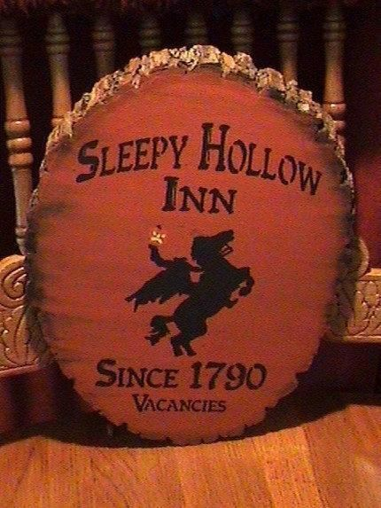 Primitive Sleepy Hollow Inn Sign Headless Horseman New York Folk Art Halloween Decorations Pumpkinhead Jack Spooky Witches by SleepyHollowPrims $40.50