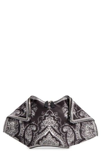 Free shipping and returns on Alexander McQueen De Manta Clutch at Nordstrom.com. Pre-order this style today! Add to Shopping Bag to view approximate ship date. You'll be charged only when your item ships.Vintage-inspired bandana patterns swirl across the iconic silhouette of an angular, Italian-crafted clutch completed with a logo-stamped leather patch.