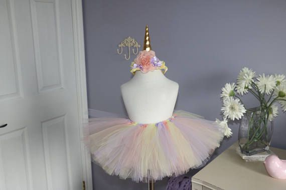 Unicorn tutu and headband  baby yellow peach and lavender /  Unicorn outfit, birthday unicorn Tutu, unicorn romper, unicorn top