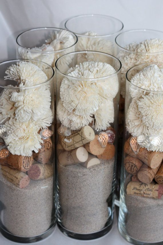 Cork Sola  Sand Wedding Centerpieces set of 6 by rhuevintage, $44.00