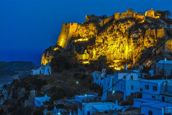 Castle of Chora in the night