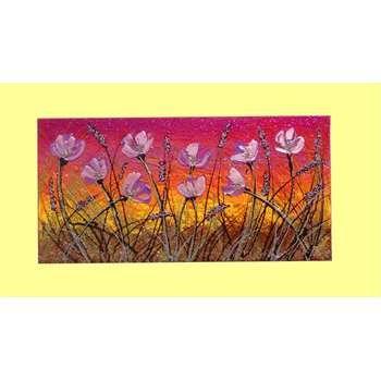 """Quadri Fiori Astratti """"Fiori lilla al tramonto"""" Materico acrilico su tela. Quadro floreale dalle dimensioni ridotte che permette di arredare piccoli spazi. Le tonalità sono calde e luminose impreziosite da glitter e graniglie. Ideale per arricchire ambienti con un tocco d'effetto artistico. Dim. 30x60"""
