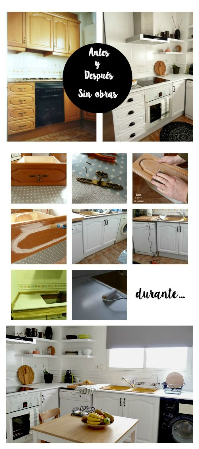 Reforma de mi cocina sin obras. Antes, durante y después. #diy #kitchen #beforeafter #kitchen