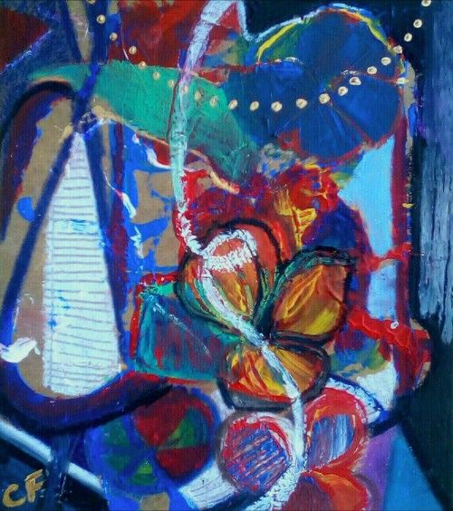 Paintings - ABSTRACT FLOWER STUDY - AN ORIGINAL PAINTING BY CELESTE FOURIE-WIID for sale in Hermanus (ID:302476080)