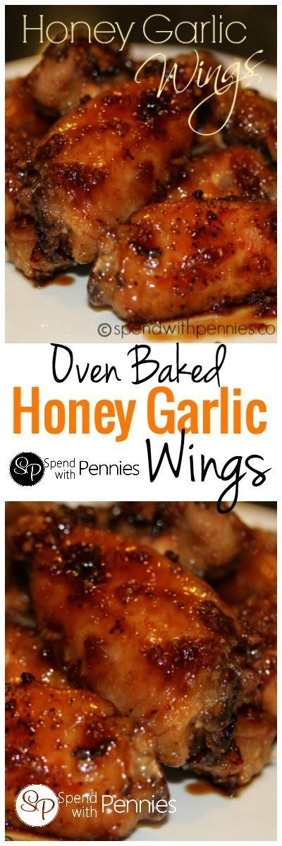 Delicious Oven Baked Honey Garlic Wings!  Kids and adults alike love these addictive sticky wings!!