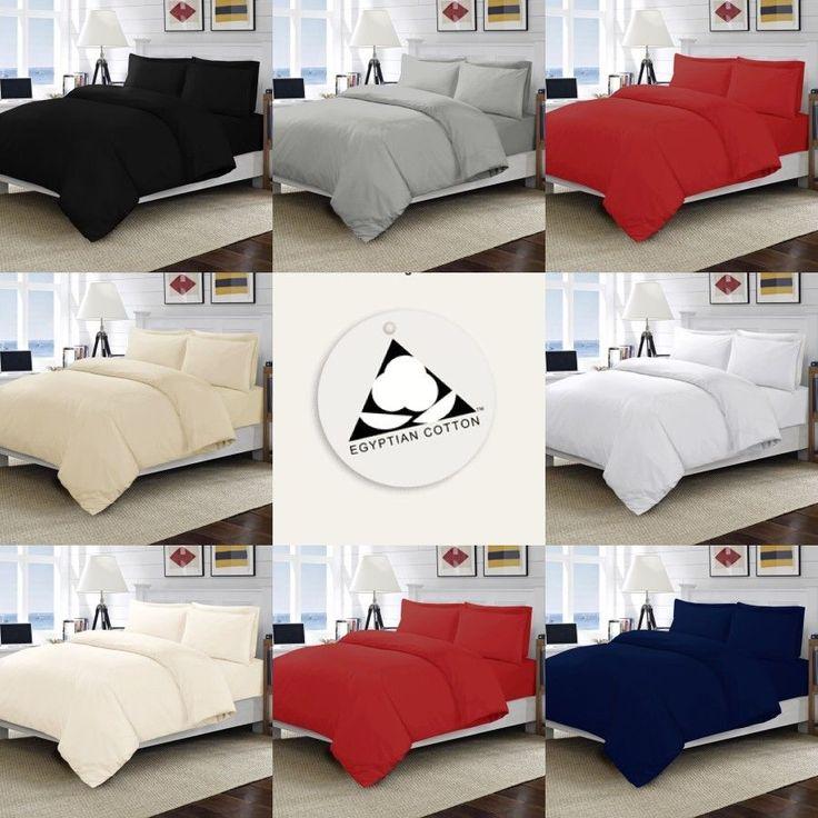 Luxury 100% Egyptian Cotton Bedding Duvet Quilt Cover & Pillowcase Set All Sizes