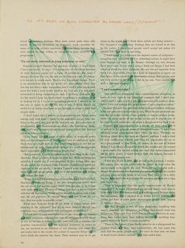 Sol LeWitt, All ifs ands or buts connected by green lines, 1973
