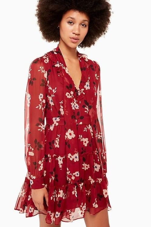 41d62777074 Red Floral Long Sleeve Mini Dress by Kate Spade - Supper cute ruffles and a  rich red floral print