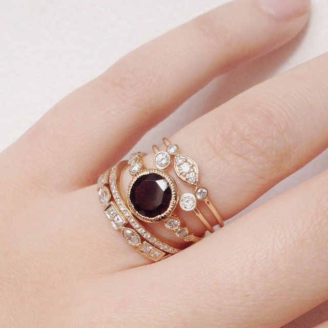 Today's stack featuring the Aurora Ring with Garnet #14K #garnet #diamonds #valejewelry