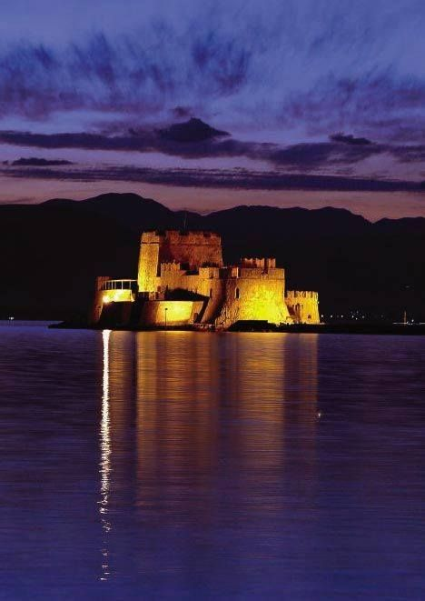 The castle of Bourtzi is located in the middle of the harbour of Nafplio. The Venetians completed its fortification in 1473 to protect the city from pirates and invaders from the sea. Since then, it is mainly a tourist attraction hosting occasionally parts of the Summer Music Festival ~ www.facebook.com/discoverpeloponnese?fref=photo