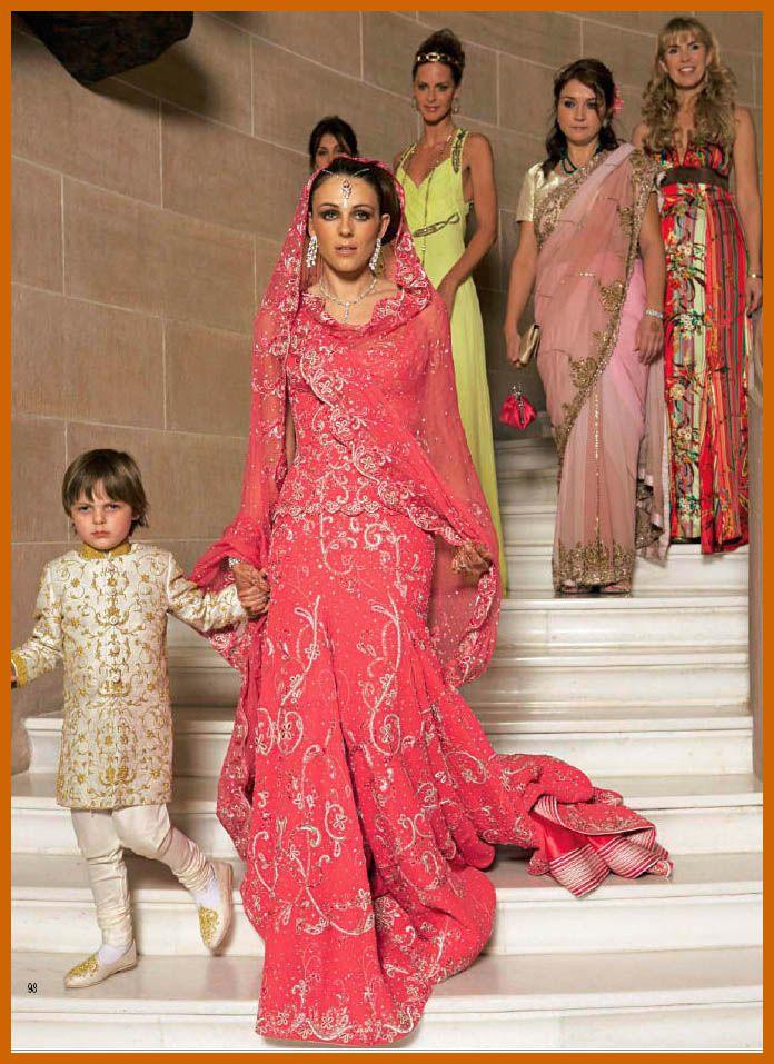 At Her Indian Wedding To Arun Nayar Elizabeth Hurley Wore This Different Pink Tarun Tahiliani Lehenga