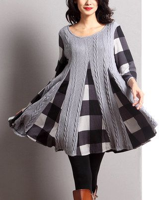 Another great find on #zulily! Gray Mixed Media Inset Swing Tunic by Reborn Collection #zulilyfinds