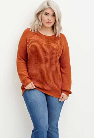 Plus Size Textured Knit Raglan Sweater