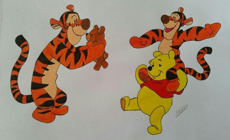 Tigerdyret og peterplys - Tegnet med blyant og derefter Malet med akryl.