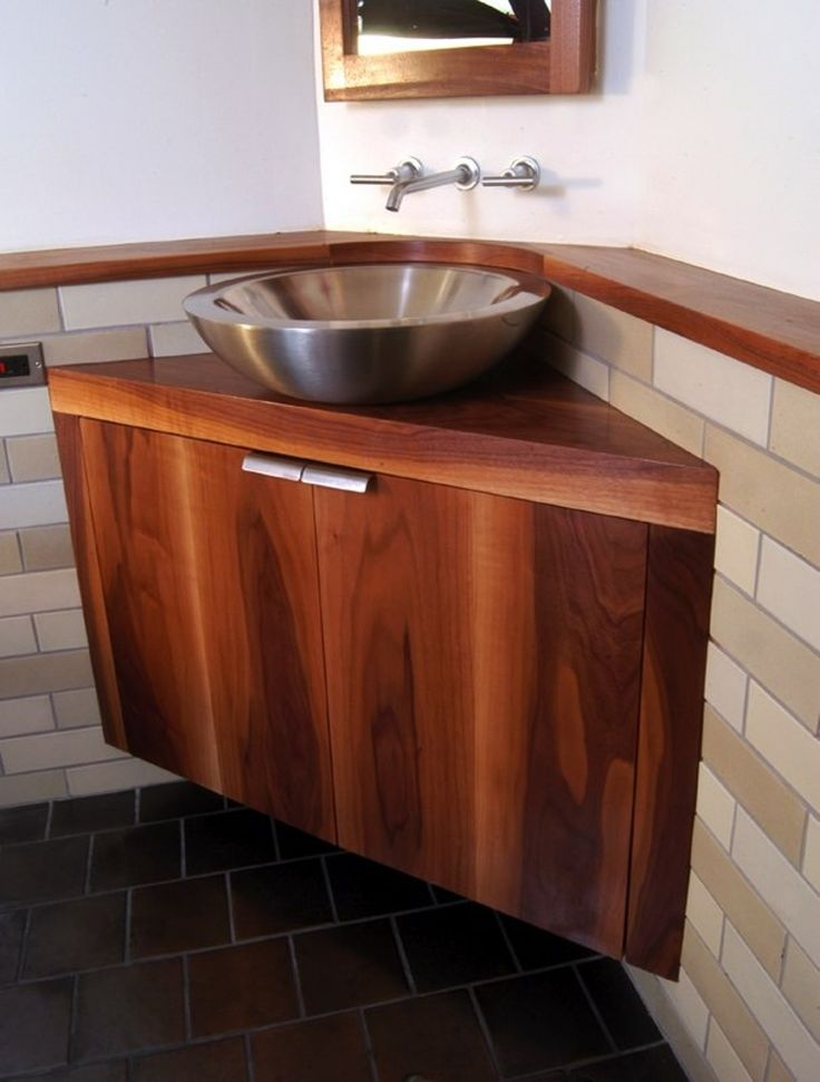 Awesome brown wood corner bathroom vanity with silver for Vessel sink bathroom ideas