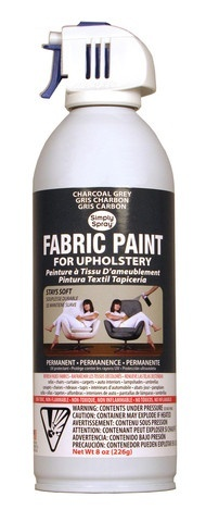 AWESOME!!! You can spray paint any fabric -- it dries soft! Im so doing this for my rugs  headboard!! Spray It New | Charcoal Grey Upholstery Fabric Paint