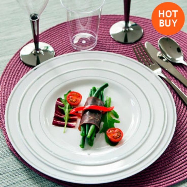 100 Strong Disposable Plates 19cm Silver Rim Plastic Party Wedding Tableware New
