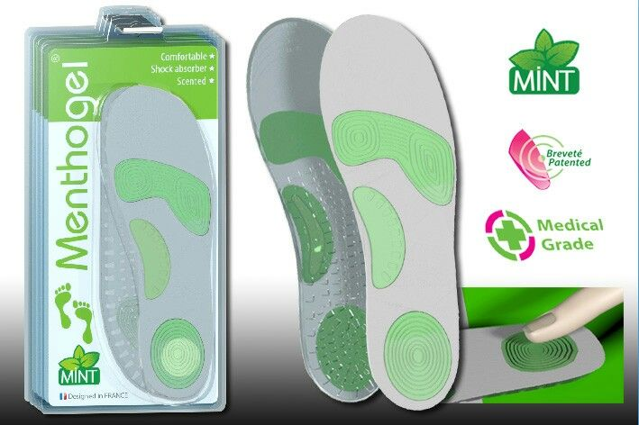 New technology 3 pads sock absorber anatomic insoles microfibre coating for daily use by Menthogel Foot Care