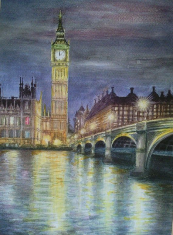 Original Watercolor Landscape Painting London Evening Painting Night Lights Westminster Cityscape London Art Impressionist Painting Original Watercolor Landscape Paintings Impressionist Paintings Landscape Night Painting