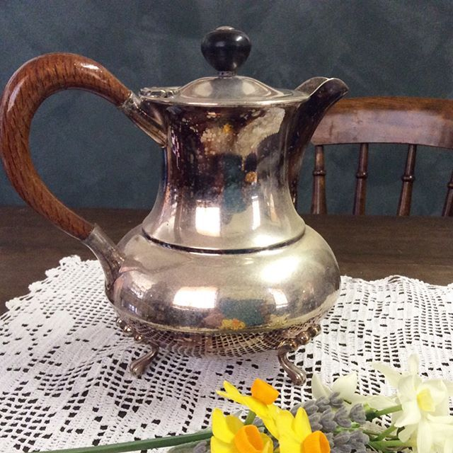 """$50 Silverplate Hotwater pot. Top up the teapot to make those cuppas last! Or fill with flowers. Selling with patina, will shine bright when polished. Stamped Paramount Plate e.p.n.s. A1 KC Luke Pty Ltd Melb. Comment """"SOLD"""" to purchase. Price is + postage or collect from Toowoomba. #antiquesilverplate #vintagesilverplate #toowoombaantiques #hightea  #silverware #oldwares #collectables #antiquesforsale #vintagelove #australiana #vintageteaparty"""