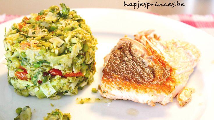 Gebakken zalm met geplette broccoli, erwtjes en prei Gezond eten Gezonde recepten Blog met gezonde recepten Foodblog