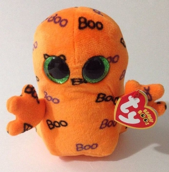 NEW Ty Beanie Boos Orange Ghoulie Ghost 2016 Halloween Plush Toy #Ty
