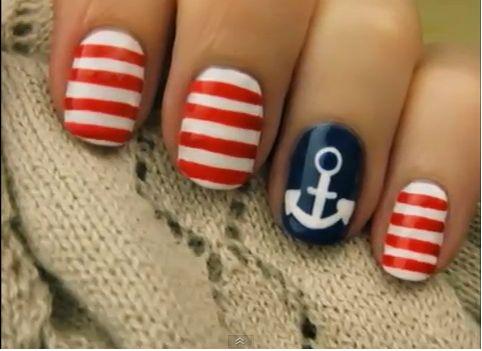 <3Anchors, Nails Art, Nails Design, Fourth Of July, Nailsart, Sailors Nails, Summer Nails, 4Th Of July, Nautical Nails