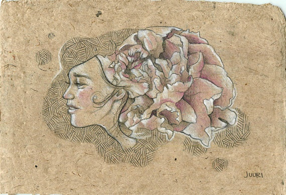 """Peony Girl II"" by JUURI. Sweet little original drawing on natural jute paper. www.juuriart.com $75"