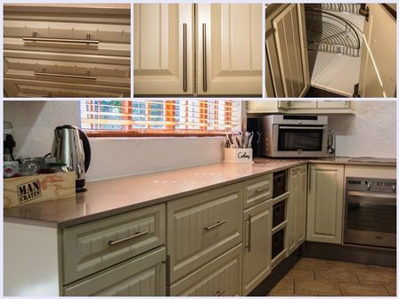 French country Kitchen design with a bit of a modern twist. We created warmth by making use of this soft, pale beige Duco door finish (typically used in a French country kitchen). Combining chrome handles and fittings, together with Pro Quartz Coral for a more modern flare.