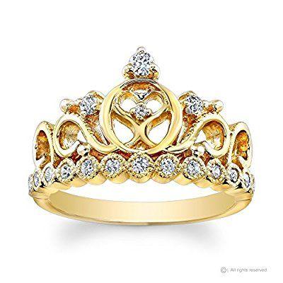 14K Yellow Gold Princess Heart Crown CZ Ring