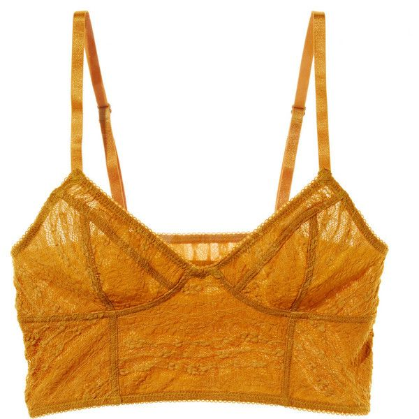 Intimately Free People Lace Cropped Bra (34 CAD) ❤ liked on Polyvore featuring intimates, bras, tops, underwear, lingerie, orange, orange bra, orange camisole, lace cami bra and crop bra