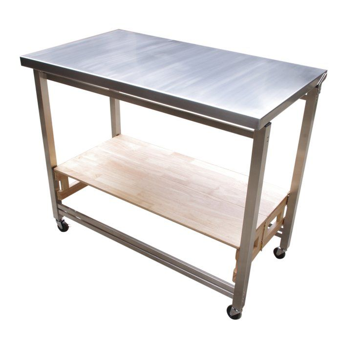 Flip And Fold Rolling Table Stainless Steel Wood