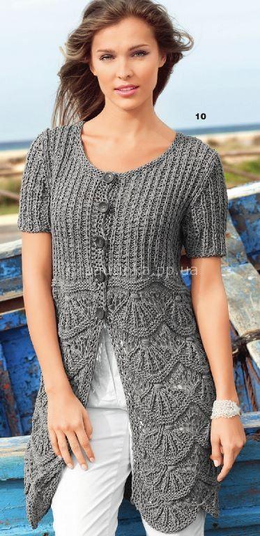 Длинный серый жакет | Вязание спицами, крючком, схемы вязания