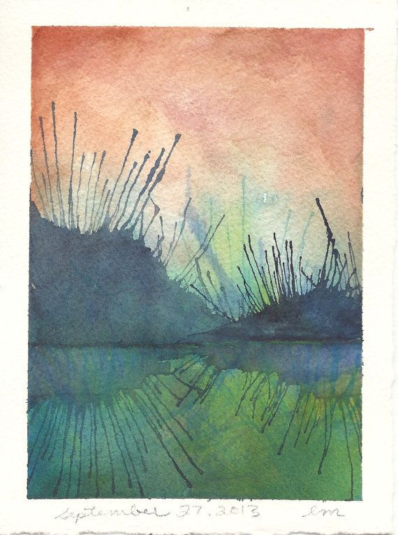original watercolour abstract landscape painting - lake art - blue - green