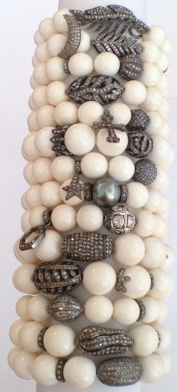 Bone Bead Bracelet with Genuine Diamond Beads.