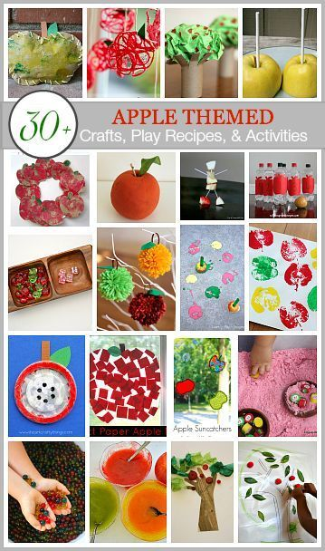 Over 30 apple themed crafts, play recipes, and activities for fall! Including apple sensory play, apple tree handprint craft, apple sun catcher and more!  via /cmarashian/