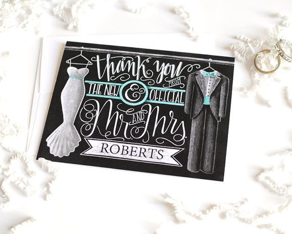 Wedding Thank You Card Thank You From The New Mr & by TheWhiteLime