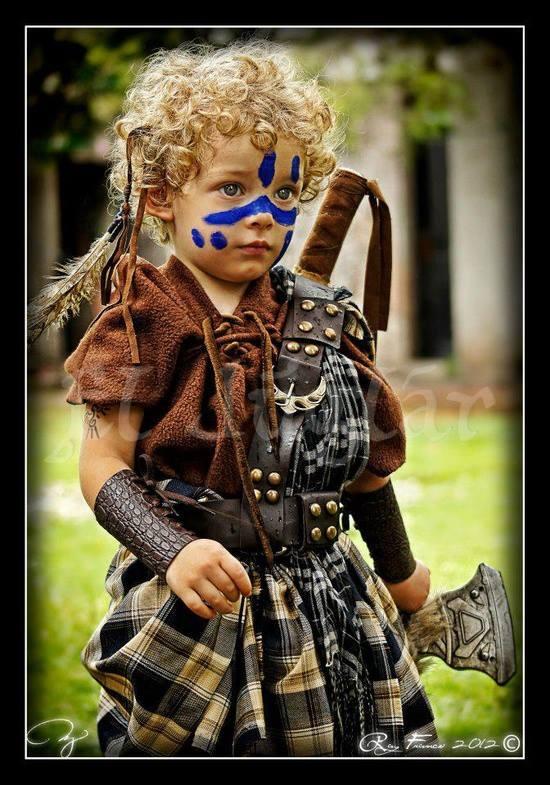 Little Highland warrior! I want to dress Duke like this.