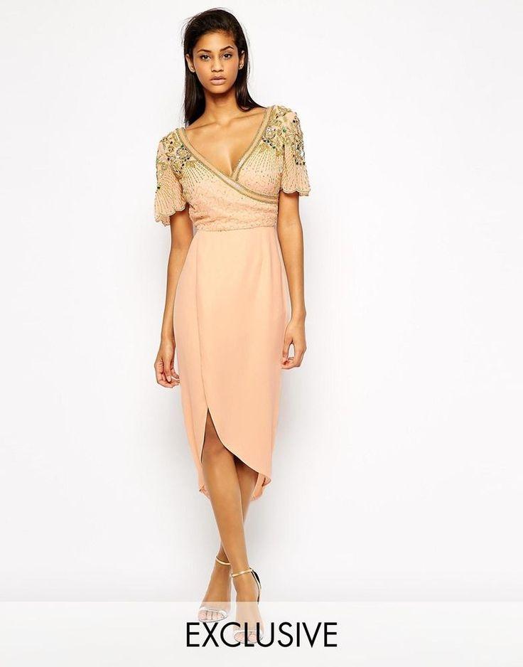 Virgos Lounge Julisa Wrap Front Midi Dress With Embellished Shoulder UK 10-EU 38